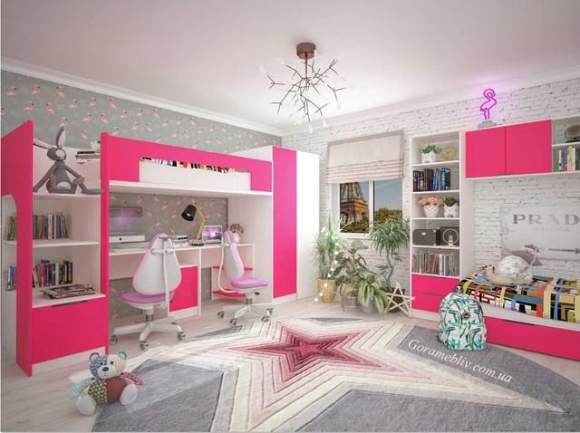 """На фото: детская комната для двоих детей """"Джуниор"""" в интерьере"""