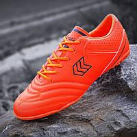 Сороконожки, бампы, кроссовки для футбола оранжевые, футбольная обувь, удобные прошитый носок (Код: М1399)