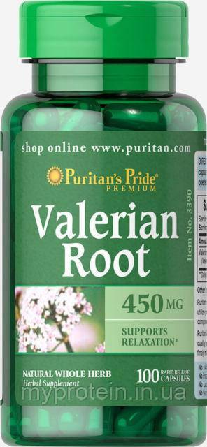 Puritan's Pride Экстракт Валерияны Valerian Valerian Root 450 mg100 caps