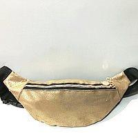 Женские сумки на пояс кожзам (золото)14*36см