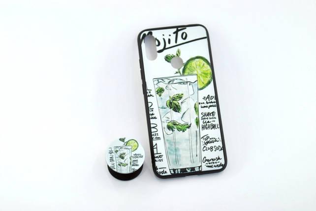 Чехол Xiaomi Redmi Note 7 Silicone Glass Print (M14) + popsocket, фото 2