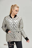 Куртка ML стеганая плащевка металлик платина