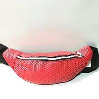 Женские сумки на пояс кожзам (коралл)14*36см