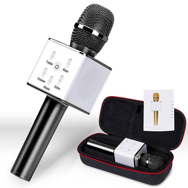 Микрофон-колонка bluetooth Q7 с чехлом (2 динамика + USB + Bluetooth) Original size