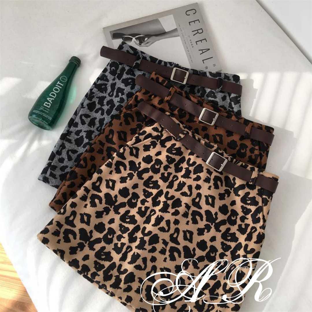 Леопардовая юбка с поясом в  наличии цвета  размеры леопард