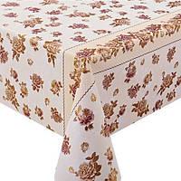 Клеенка ПВХ Калейдоскоп MA-2933, прозрачная, с рисунком золото/серебро, размер 1,37*20 м, клеенка на стол, рулон клеенки, кленка для стола