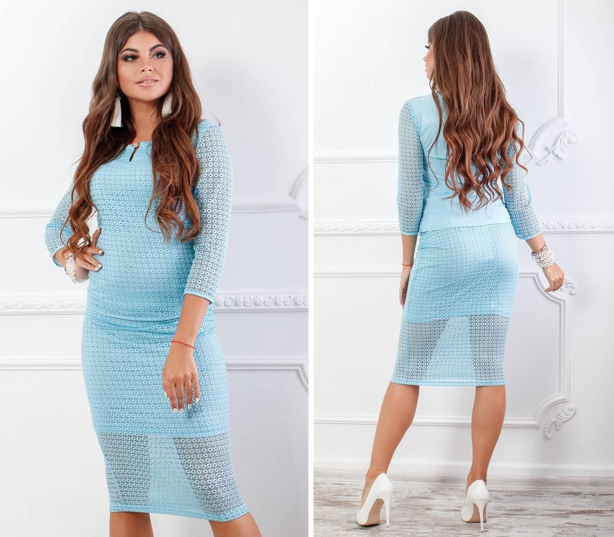 Костюм женский, блуза с юбкой, модель 123+814/2, цвет - голубой