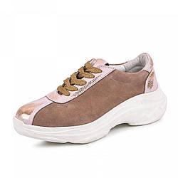 Модные кроссовки женские замшевые 36-40 бежевый
