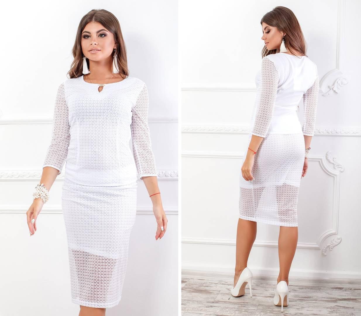 Костюм женский, блуза с юбкой, модель 123+814/2, цвет - белый