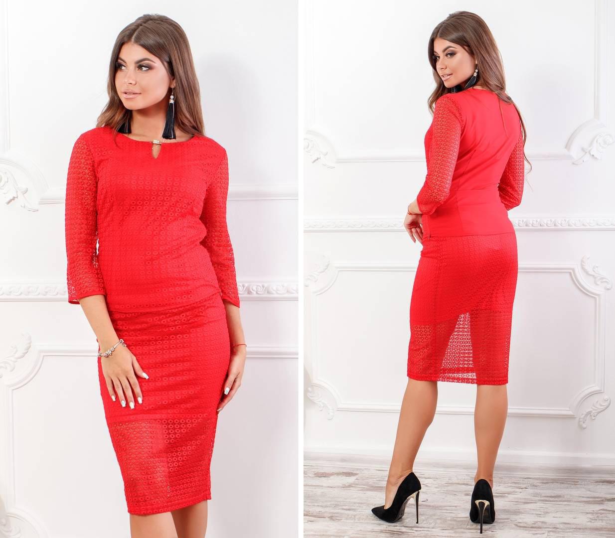 Костюм женский, блуза с юбкой, модель 123+814/2, цвет - красный