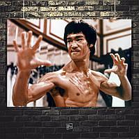 Постер Bruce Lee, Брюс Ли. Размер 60x43см (A2). Глянцевая бумага
