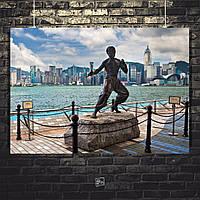 Постер Bruce Lee, Брюс Ли (статуя). Размер 60x40см (A2). Глянцевая бумага
