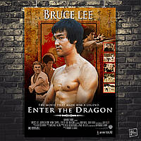 "Постер Bruce Lee, Брюс Ли (фильм ""Enter the Dragon""). Размер 60x42см (A2). Глянцевая бумага"
