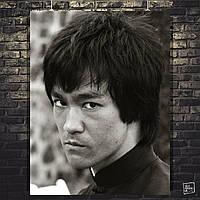 Постер Брюс Ли крупным планом, Bruce Lee. Размер 60x48см (A2). Глянцевая бумага