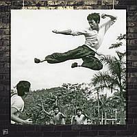 Постер Удар в полёте, кадр из фильма, Брюс Ли, Bruce Lee. Размер 60x60см (A1). Глянцевая бумага