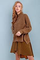 Модный вязаный женский свитер оверсайз 42-52 размера коричневый, фото 1