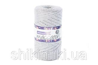 Трикотажный плоский шнур Ribbon Glitter, цвет серебро