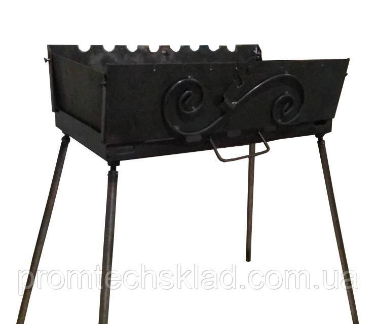 Мангал-чемодан на 12 шампуров, 2 мм