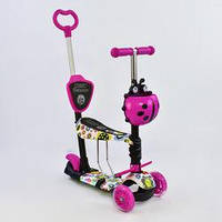 Самокат-беговел Best Scooter  с родительской ручкой 5в1  Подсветка платформы и колес Розовый, фото 1
