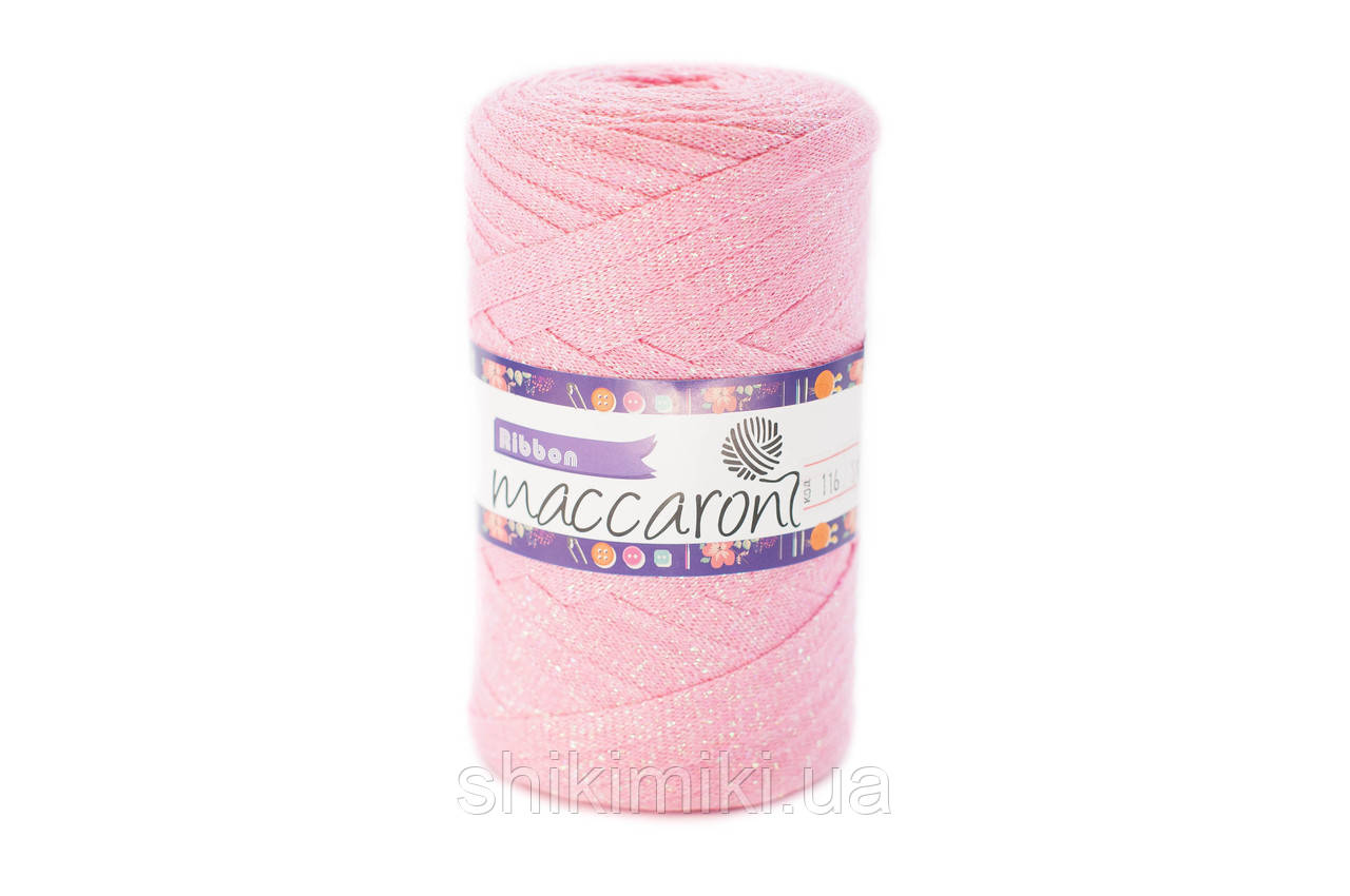 Трикотажный плоский шнур Ribbon Glitter, цвет Розовый