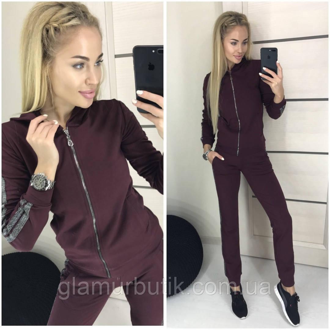 182f9078983 Модный женский спортивный костюм штаны и кофта с лампасами из люрексом  бордовый 42 44 46 50