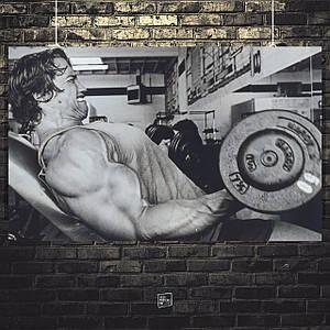 Постер Арнольд Шварценеггер со штангой, ретрофото 1977г. Размер 60x38см (A2). Глянцевая бумага