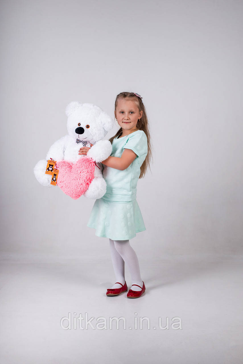 Мягкая игрушка Медведь Джеймс с сердцем (65см)Белый