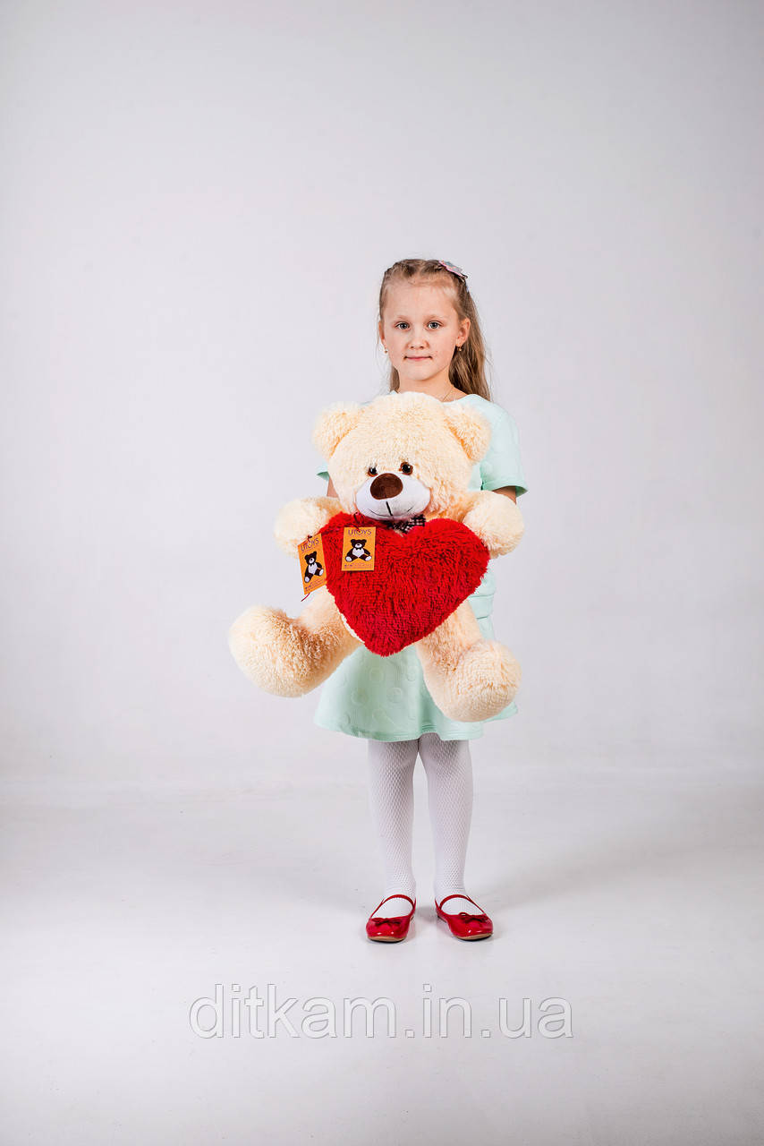Мягкая игрушка Медведь Джеймс с сердцем (65см)Персиковый