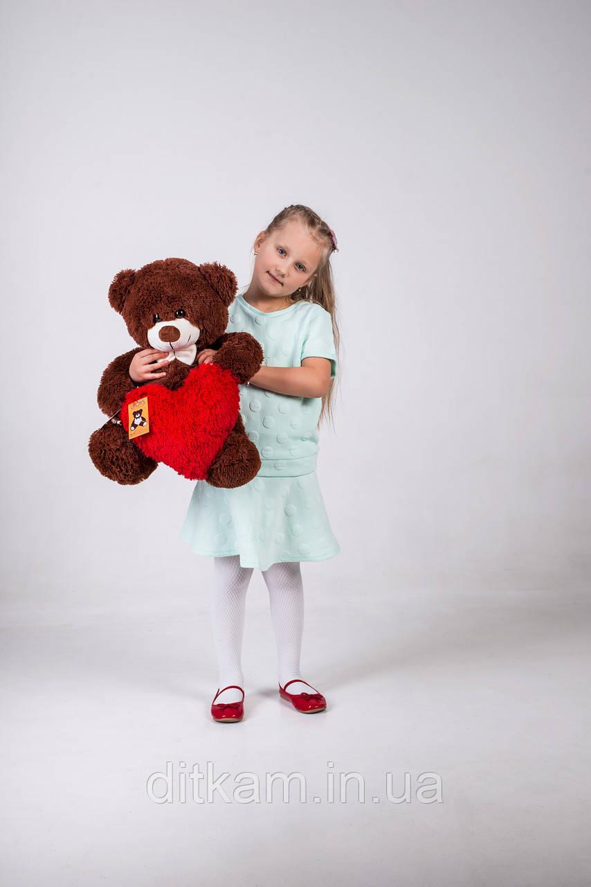 Мягкая игрушка Медведь Джеймс с сердцем (65см)Шоколадный