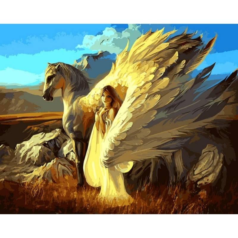 Картина по номерам Девушка и Пегас, 40x50 см., Babylon