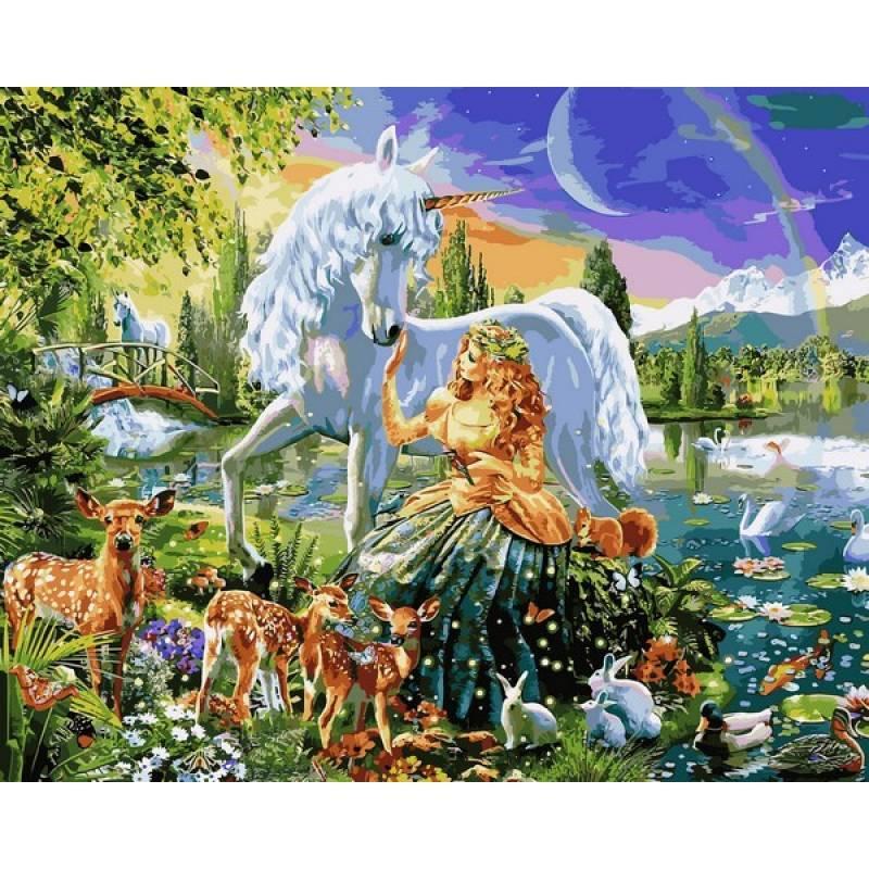 Картина по номерам Дева и единорог, 40x50 см., Babylon