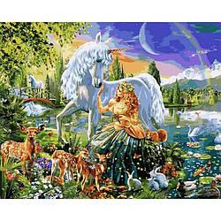 Картина по номерам VP1092 Дева и единорог, 40x50 см., Babylon