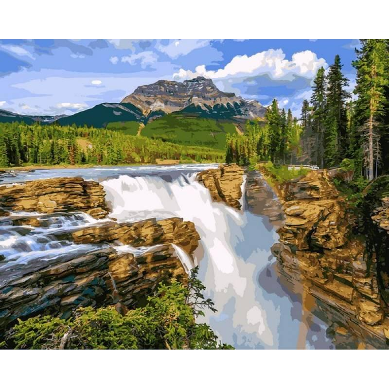 Картина по номерам Водопад в чаще леса, 40x50 см., Babylon