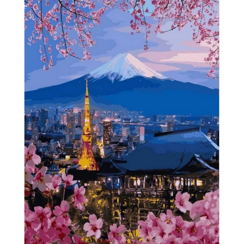Картина по номерам Йокогама и гора Фудзияма, 40x50 см., Babylon
