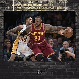 Постер Джеймс Леброн, Lebron James, Lakers. Размер 60x42см (A2). Глянцевая бумага