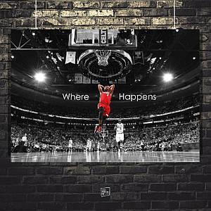 Постер Джеймс Леброн, Lebron James, Lakers. Размер 60x43см (A2). Глянцевая бумага