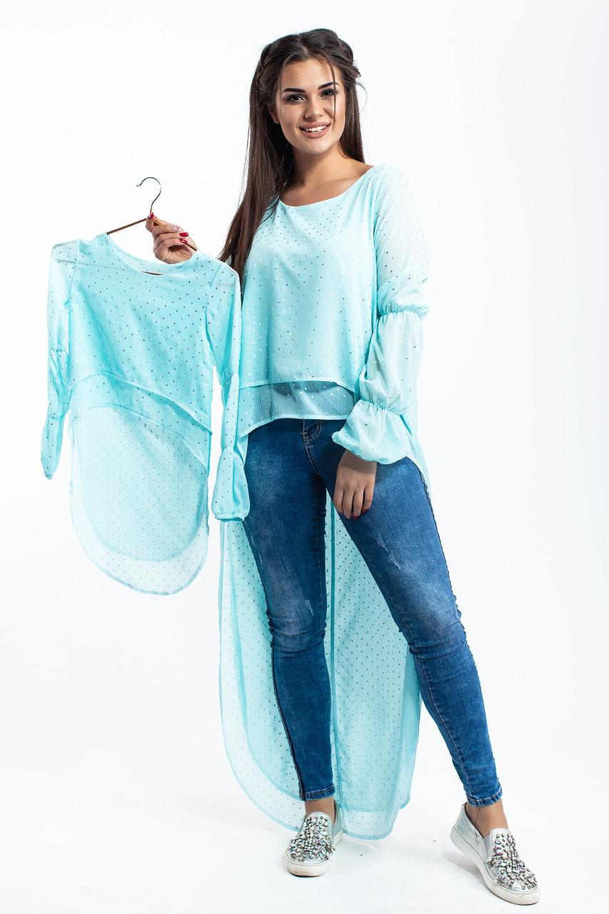 """Детская блузка туника для девочки из двухслойного шифона со шлейфом в звездочки, серия """"мама и дочка"""""""