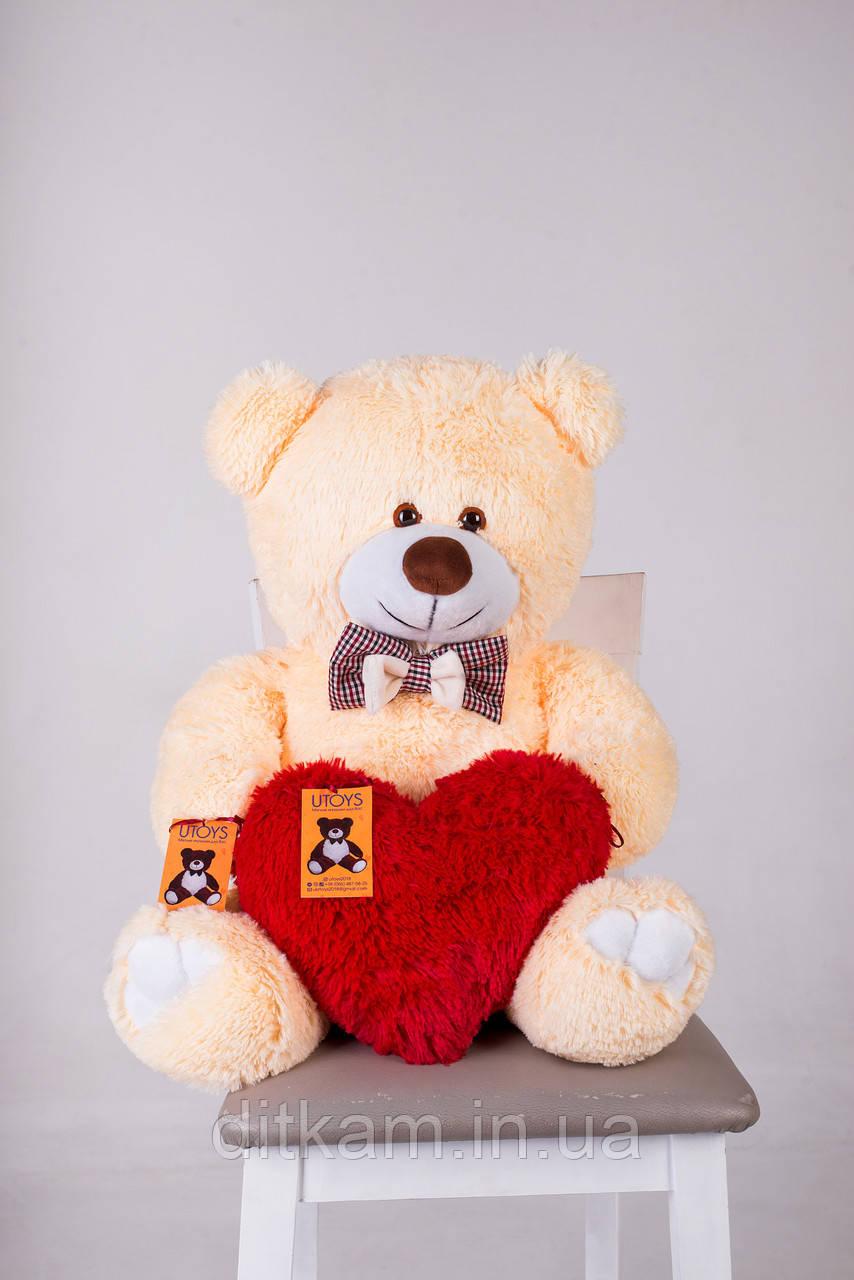 Мягкая игрушка Медведь Джимми с сердцем (90см)Персиковый
