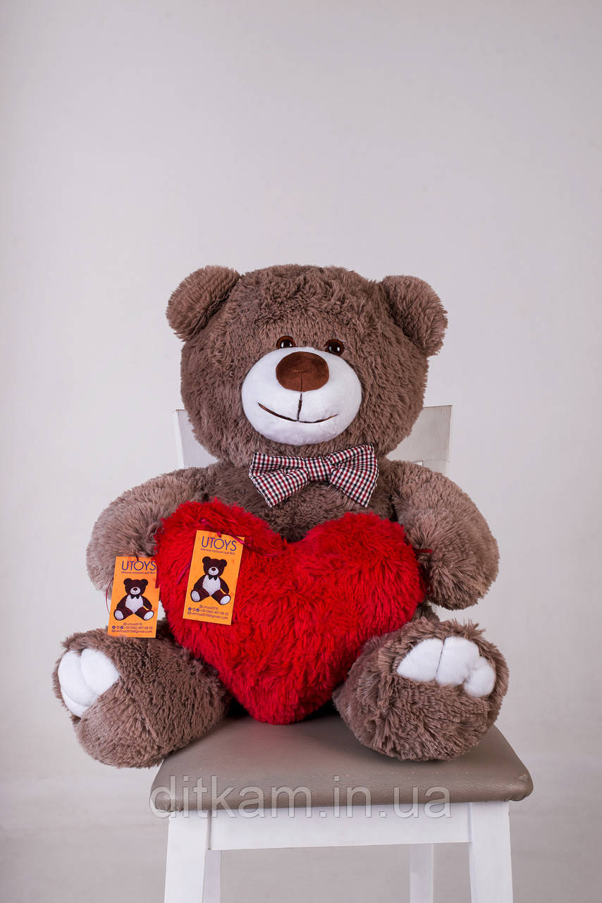 Мягкая игрушка Медведь Джимми с сердцем (90см)Капучино
