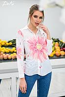 Рубашка женская молодежная с цветком /ат3245, фото 1