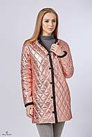 Куртка-плащ ML стеганая плащевка металлик розовый