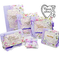 Свадебный набор шкатулка, фотоальбом, книга пожеланий, подушечка для колец, обложка на свидетельство, под диск