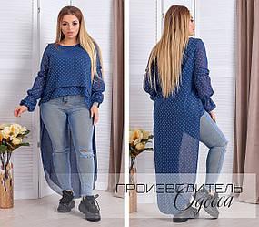 """Женская блузка туника из двухслойного шифона со шлейфом в звезды, серия """"мама и дочка"""", батал большие размеры"""