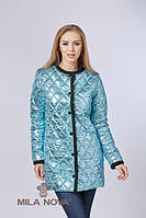 Куртка-плащ ML стеганая плащевка металлик голубой