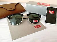 Мужские солнцезащитные очки Ray Ban Рэй Бэн Клабмастер чёрные с чёрным отливом (реплика)