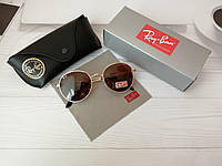 Солнцезащитные очки Ray Ban Рэй Бэн Клабмастер круглые янтарные (реплика)