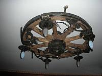 Кованая люстра - Колесо от телеги, фото 1