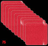 Набор 51х51 мм, светоотражающие наклейки на самоклейке для тента, авто, мото, вело Красный