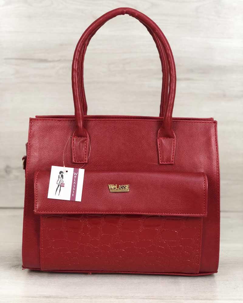 40709fc11a0b Каркасная женская сумка с накладным карманом лаковый красный - Ваш выбор в  Одессе