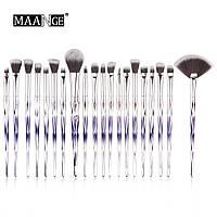 Набор кистей для макияжа MAANGE makeup brush set Metal Gradient фиолетовый (20шт)